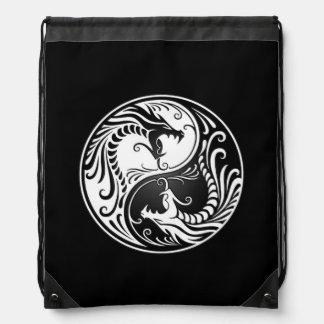 White and Black Yin Yang Dragons Drawstring Backpack