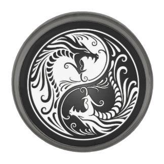 White and Black Yin Yang Dragons Gunmetal Finish Lapel Pin