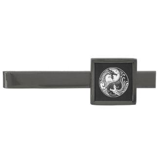 White and Black Yin Yang Dragons Gunmetal Finish Tie Clip