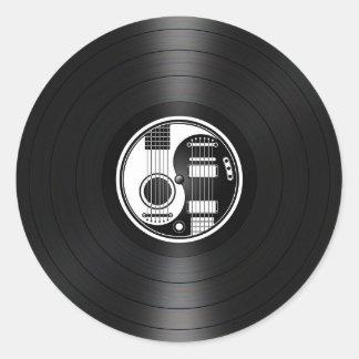 White and Black Yin Yang Guitars Vinyl Graphic Classic Round Sticker
