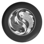 White and Black Yin Yang Koi Fish Party Plate