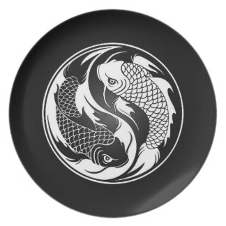 White and Black Yin Yang Koi Fish Dinner Plates
