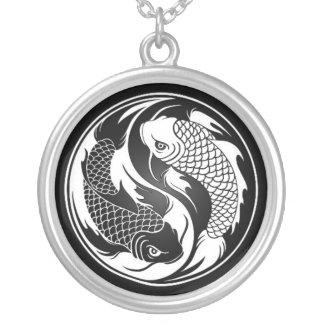 White and Black Yin Yang Koi Fish Round Pendant Necklace