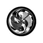 White and Black Yin Yang Koi Fish Round Wallclock