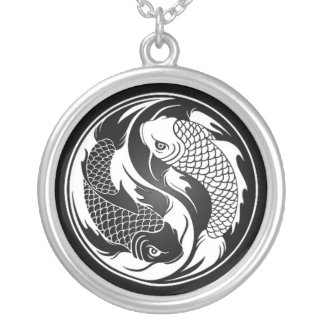 White and Black Yin Yang Koi Fish Silver Plated Necklace