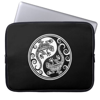 White and Black Yin Yang Lizards Laptop Computer Sleeves
