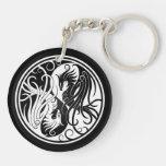 White and Black Yin Yang Phoenix Double-Sided Round Acrylic Keychain