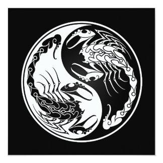 "White and Black Yin Yang Scorpions 5.25"" Square Invitation Card"