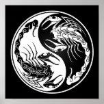 White and Black Yin Yang Scorpions Poster
