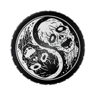 White and Black Yin Yang Zombies Candy Tin