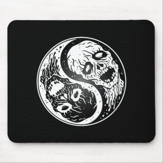 White and Black Yin Yang Zombies Mouse Pad