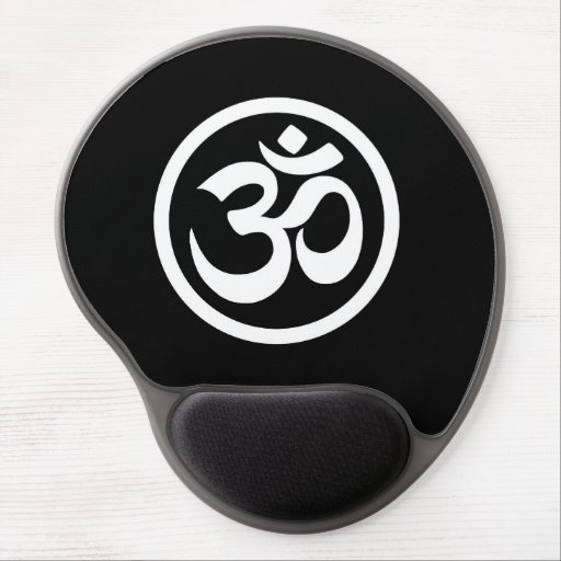 White and Black Yoga Om Circle Gel Mouse Pad
