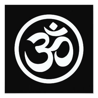 White and Black Yoga Om Circle 5.25x5.25 Square Paper Invitation Card