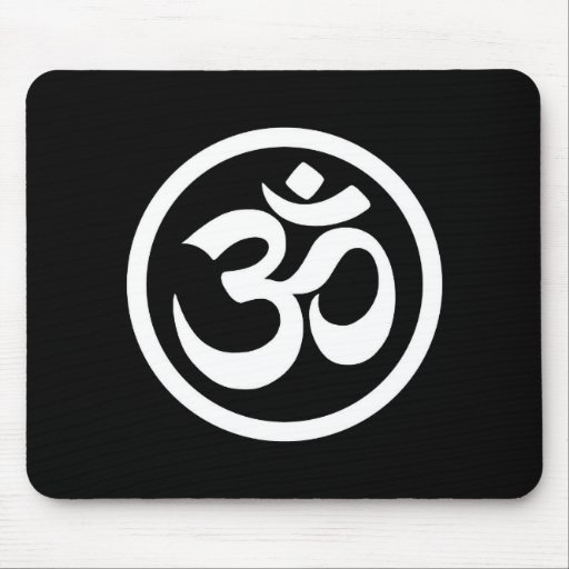 White and Black Yoga Om Circle Mouse Pads