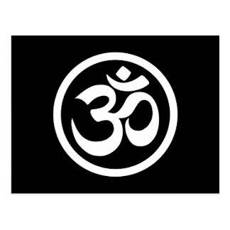 White and Black Yoga Om Circle Postcard