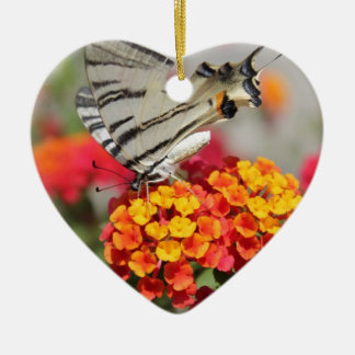 White and Black Zebra Butterfly Double-Sided Heart Ceramic Christmas Ornament
