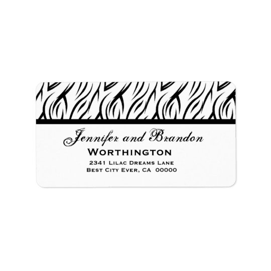 White and Black Zebra Flame Wedding Template Label