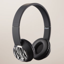 White and Black Zebra Pattern Headphones