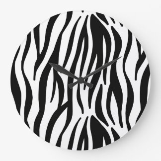 White and Black Zebra Pattern Large Clock