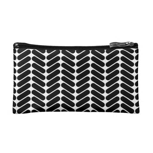 White and Black Zig Zag Pattern. Cosmetics Bags