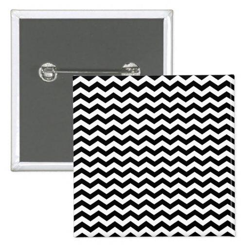 White and Black Zig Zag Pinback Button