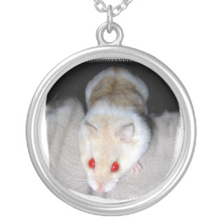 White and blonde albino hamster picture round pendant necklace