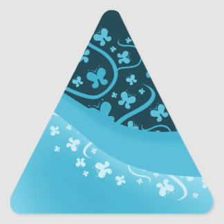 White and Blue Abstract Butterflies Triangle Sticker