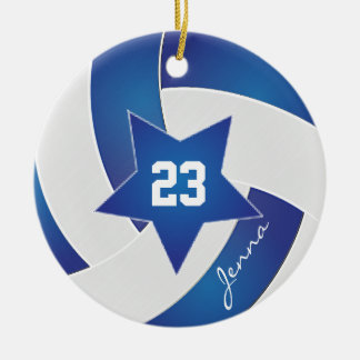 White and Blue All Star Volleyball Ceramic Ornament