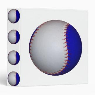 White and Blue Baseball Softball Binder