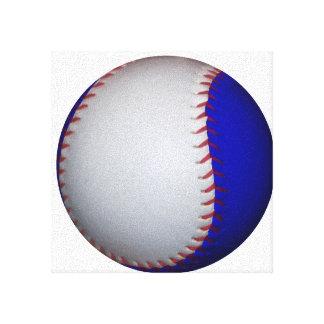 White and Blue Baseball Softball Canvas Print