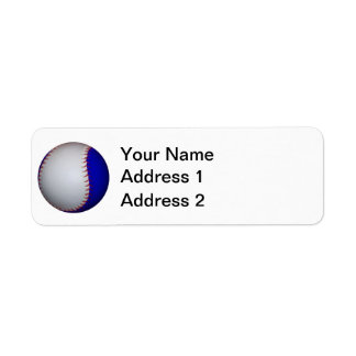 White and Blue Baseball Softball Label