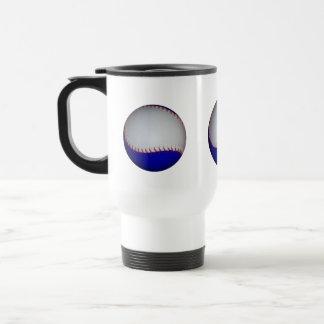White and Blue Baseball / Softball 15 Oz Stainless Steel Travel Mug