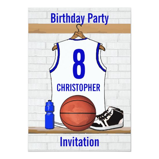 White and Blue Basketball Jersey Birthday Party Invitation