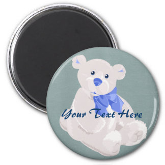 White and Blue Bear Magnet