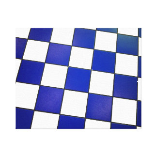 white and blue checkered floor canvas print