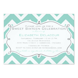 White and Blue Chevron Sweet Sixteen Invitation