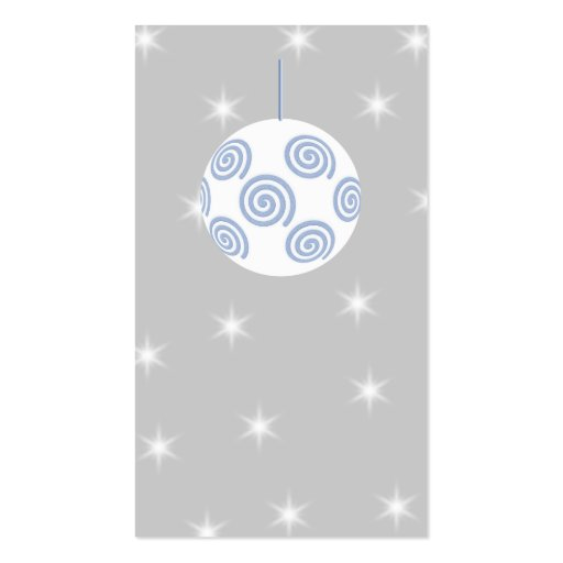 White and Blue Christmas Bauble. On Starry Gray. Business Card Template