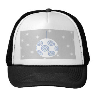 White and Blue Christmas Bauble. On Starry Gray. Trucker Hat