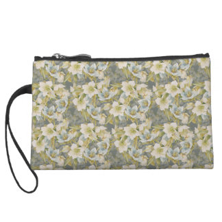 White and blue Christmas roses Wristlet Purse