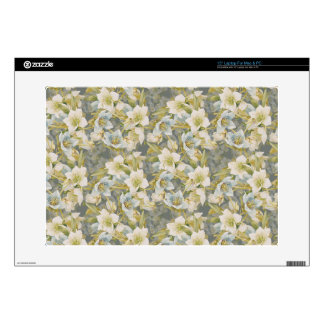 White and blue Christmas roses Skin For Laptop