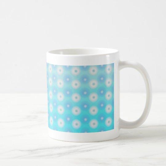 white and blue circles coffee mug