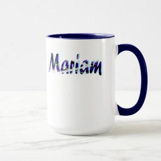 White and Blue coffee mug for Mariam