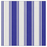 [ Thumbnail: White and Blue Colored Lined Pattern Fabric ]