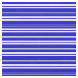 [ Thumbnail: White and Blue Colored Striped Pattern Fabric ]