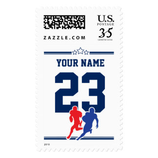 White and blue customizable football team colors… stamp