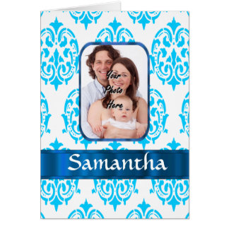 White and blue damask card