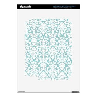 White and Blue Damask iPad 3 Skin