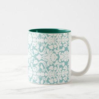White and Blue Damask Two-Tone Coffee Mug