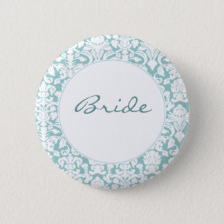 White and Blue Damask Pinback Button