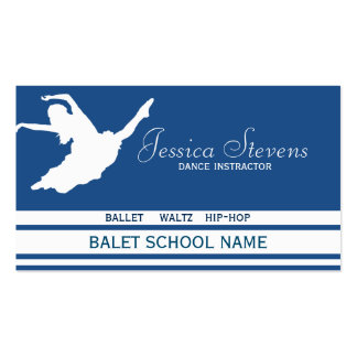 White And Blue Dance School Instructor Business Card